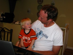 Daddy and Landon hung out and watched the Gaithers on the internet. Yes, Lee's passing on his love for old Southern Gospel music to his offspring!