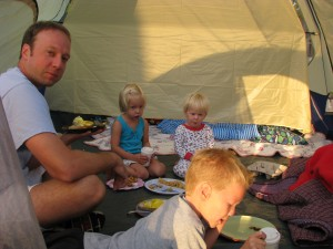 Pancake breakfast in the tent