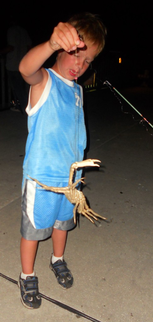 Sloan and my dad had a guys night the other night. They went fishing off the end of the pier and Sloan caught a crab. They drank soda and stayed out until midnight. It is his best memory.