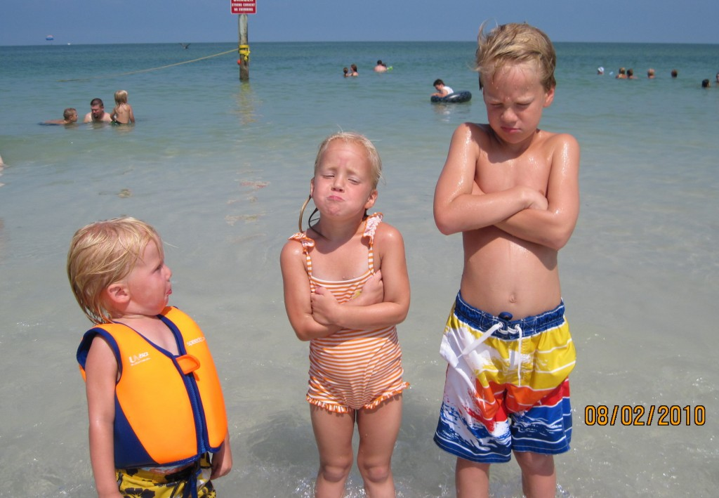 Sad faces because it's the last day at the beach. Boo.