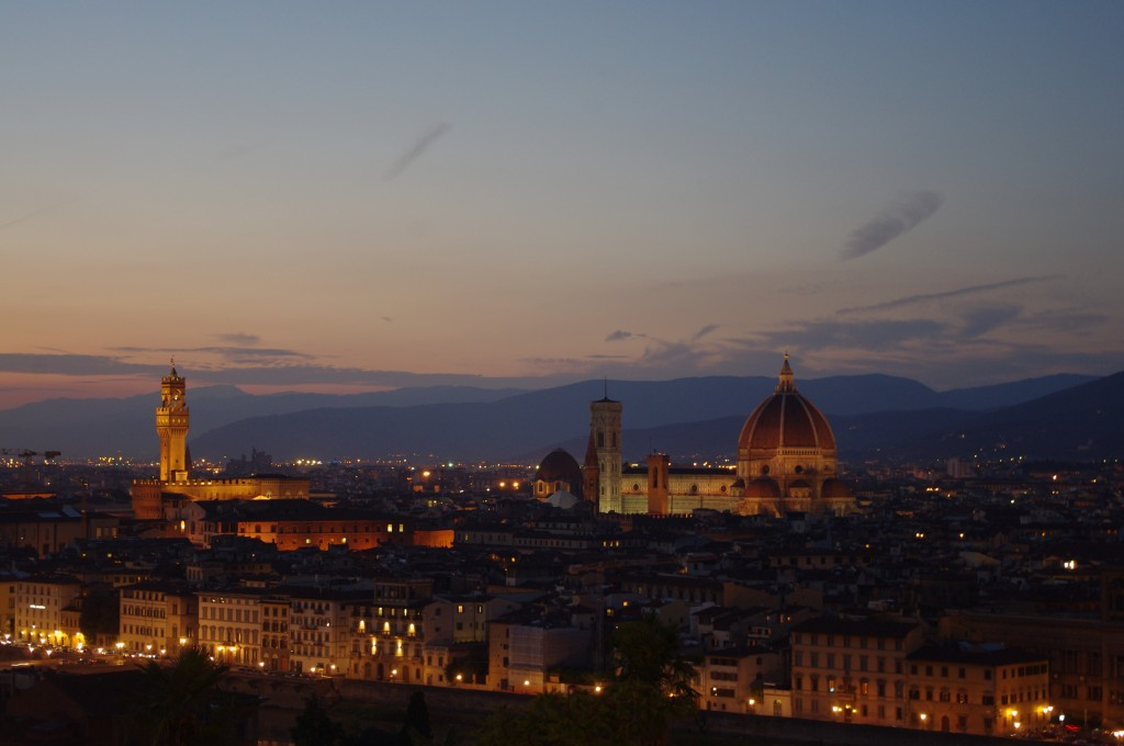 The sun setting over Florence from the Piazzale Michaelangelo