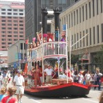 Here's my riverboat chugging down 4th street! And that's me...floating on cloud nine!