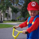Mario rides a bike