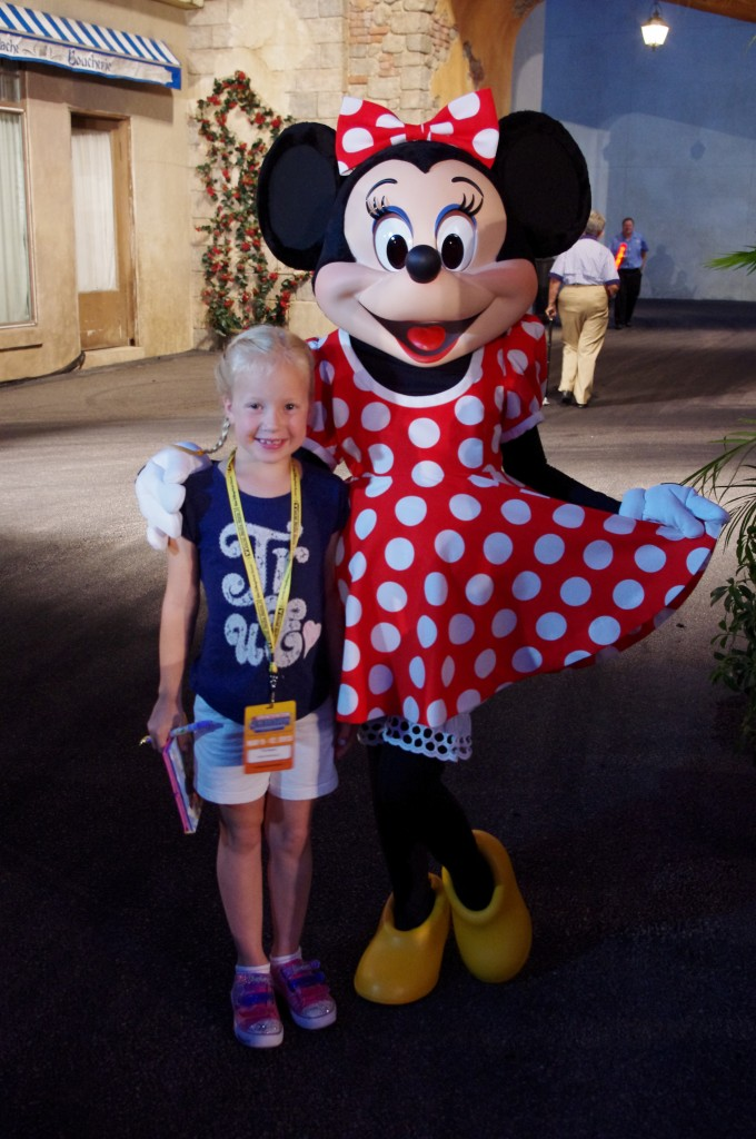 We met the ever charming Minnie Mouse (as well as her husband, Mickey. *wink*)